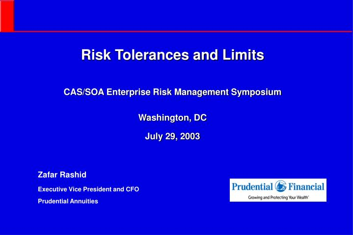Risk tolerances and limits cas soa enterprise risk management symposium washington dc july 29 2003