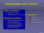 classification des chelles