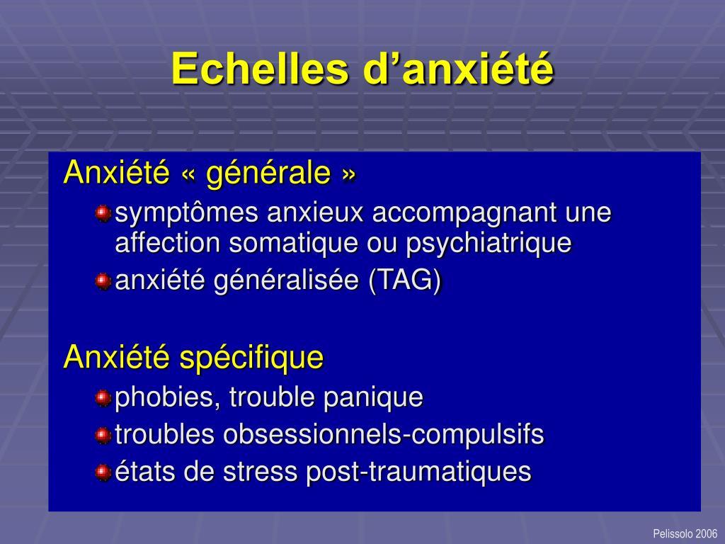 Echelles d'anxiété