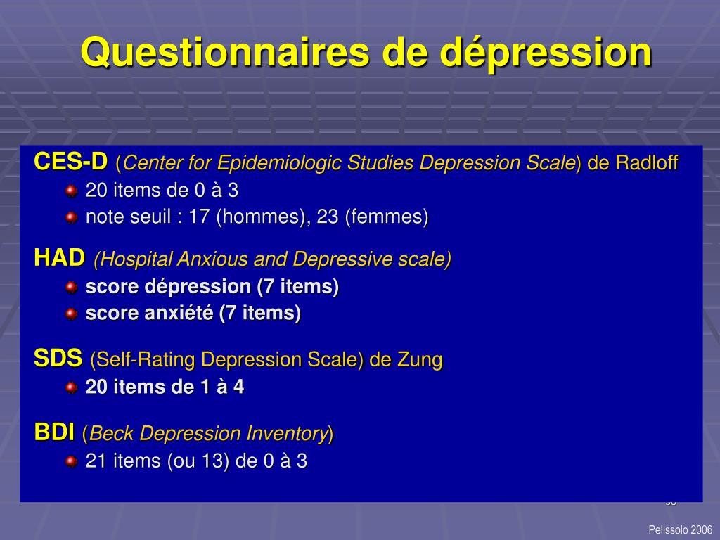 Questionnaires de dépression