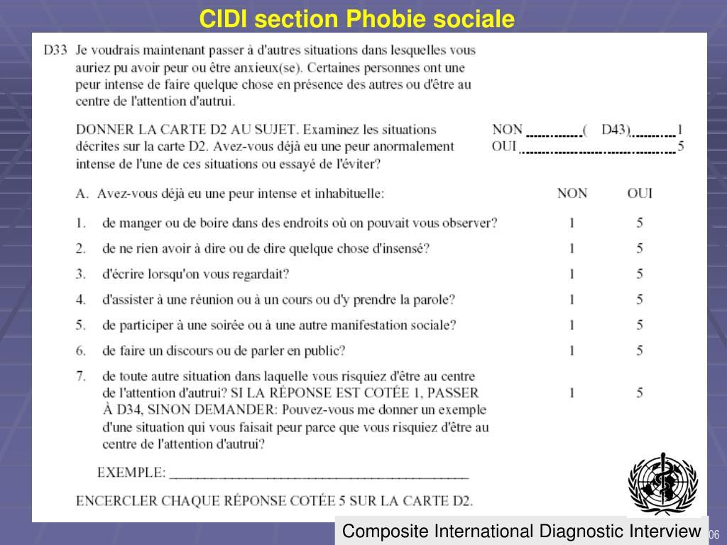 CIDI section Phobie sociale