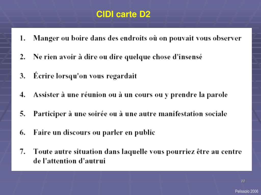 CIDI carte D2