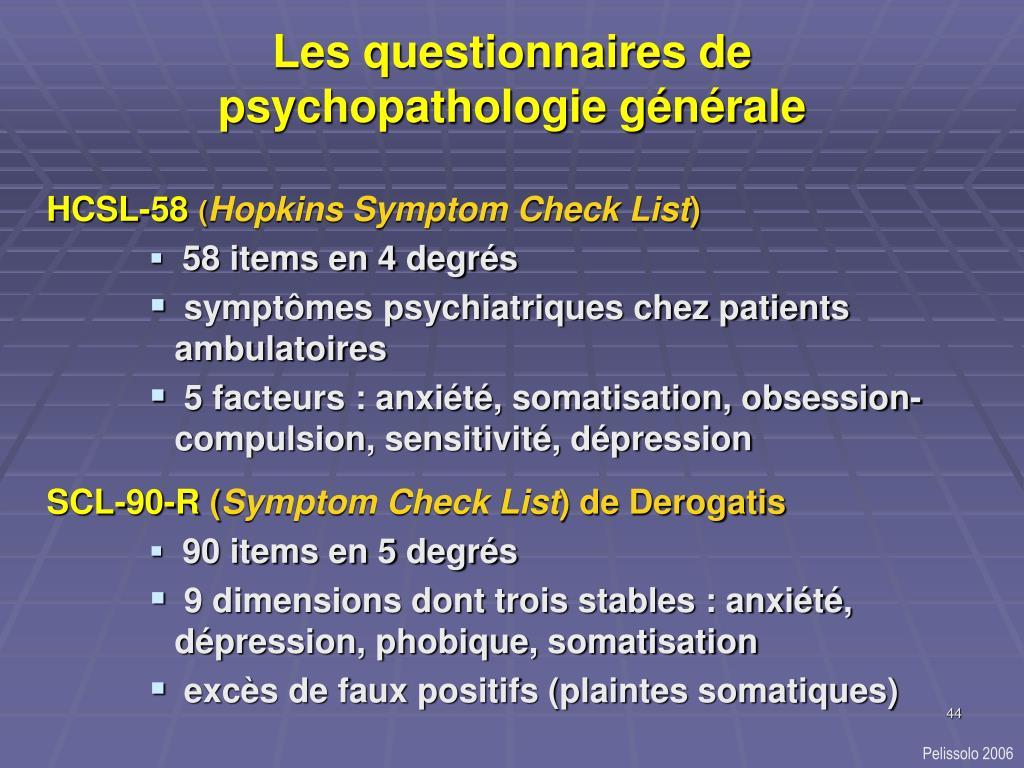 Les questionnaires de psychopathologie générale