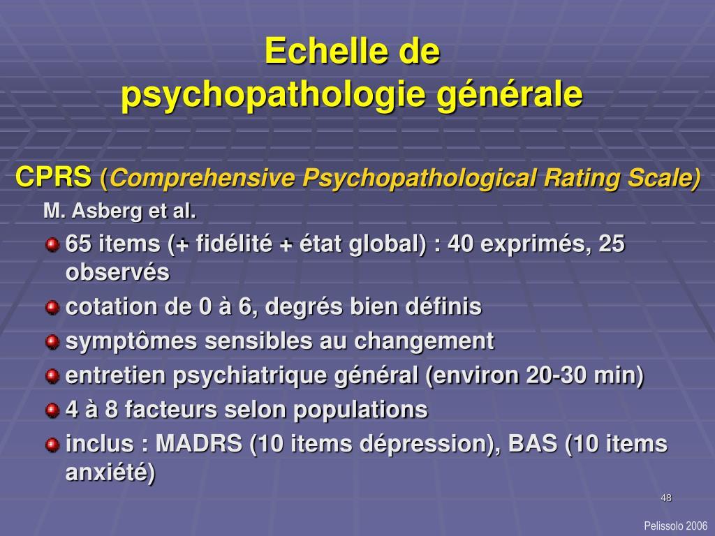 Echelle de psychopathologie générale