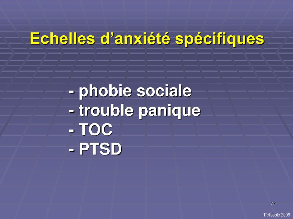 Echelles d'anxiété spécifiques