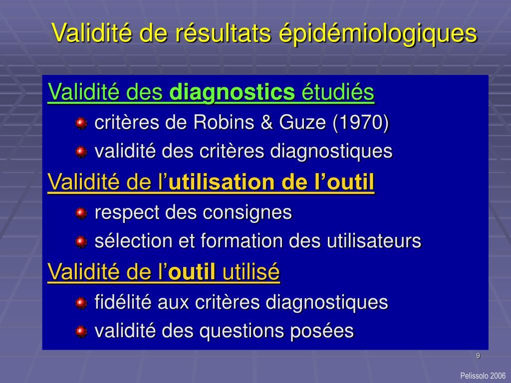 Validité de résultats épidémiologiques
