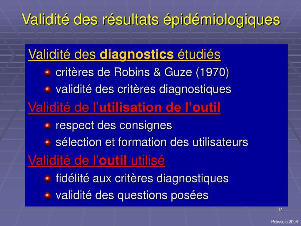 Validité des résultats épidémiologiques