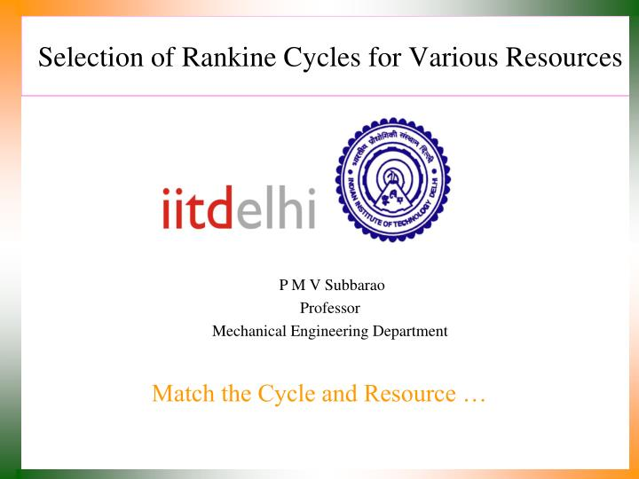 Selection of rankine cycles for various resources l.jpg