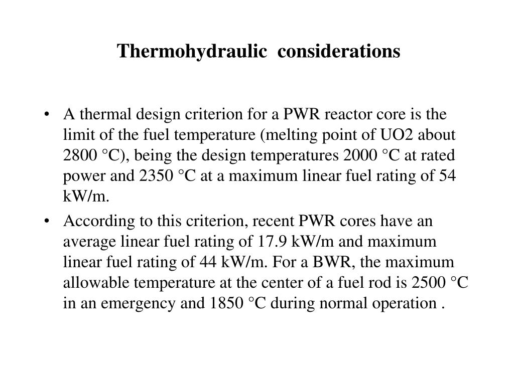Thermohydraulic  considerations