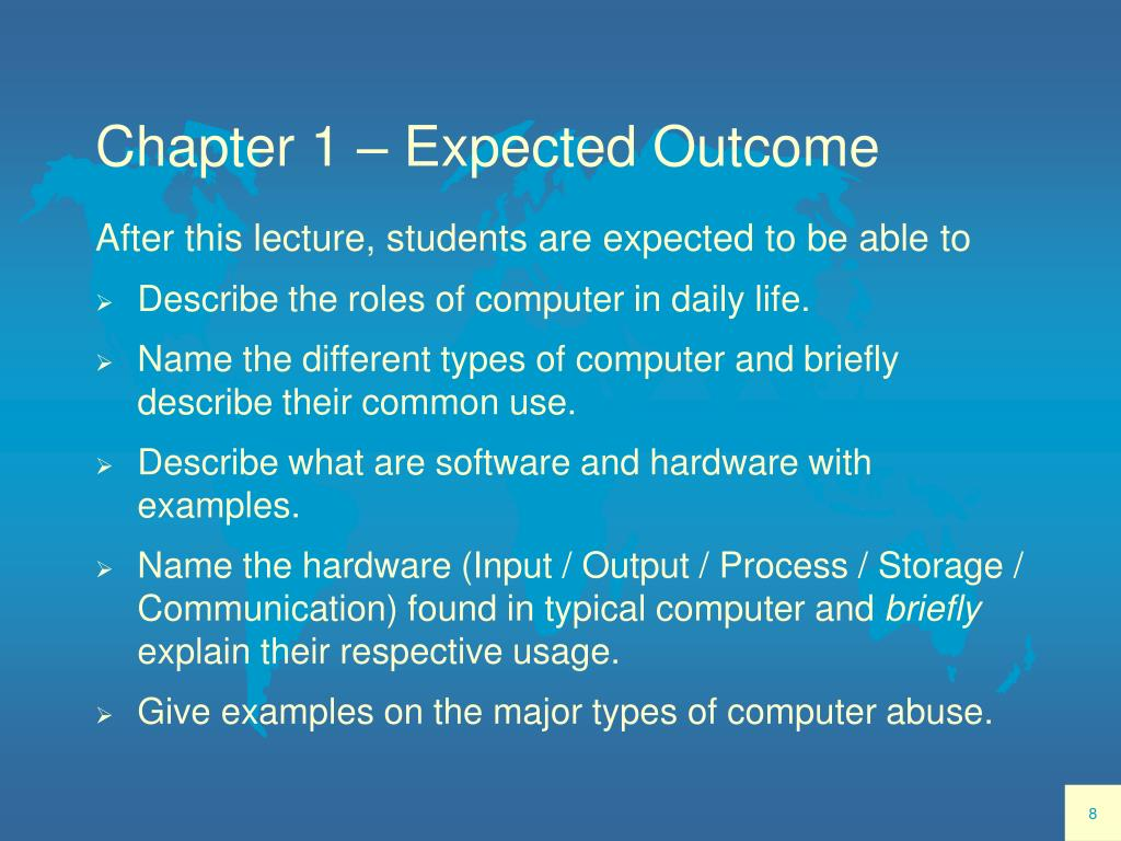 Chapter 1 – Expected Outcome