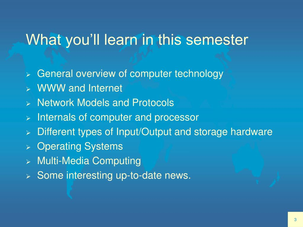 What you'll learn in this semester