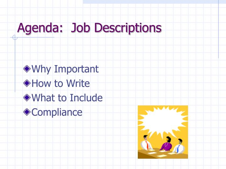 Agenda job descriptions