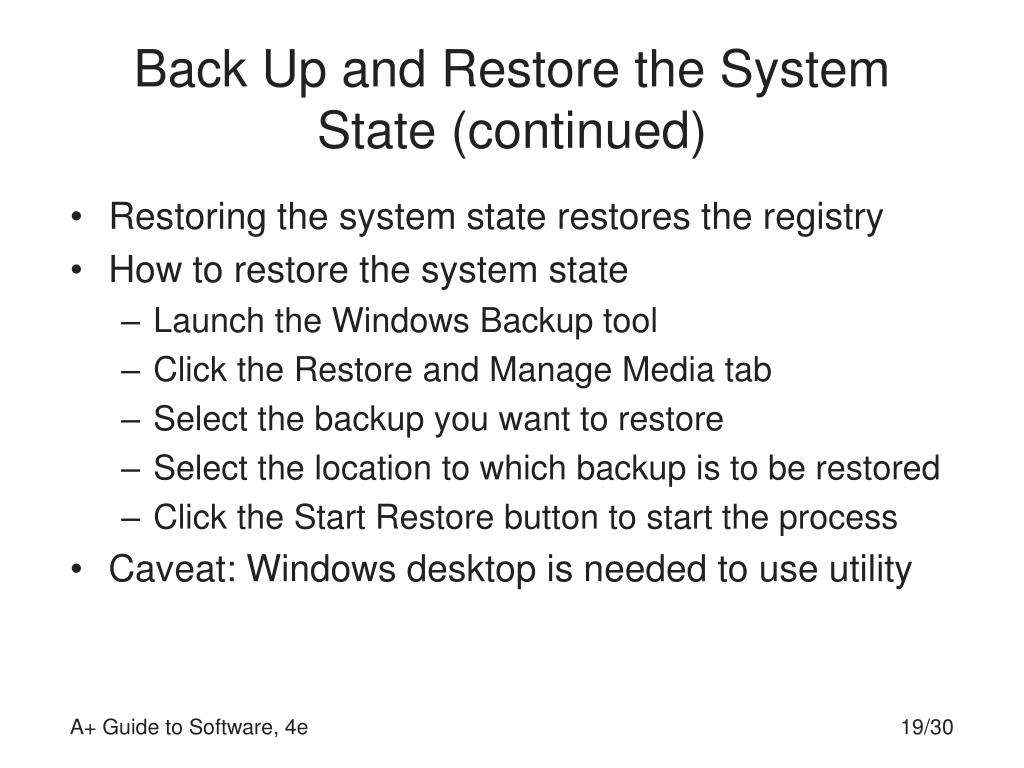 Back Up and Restore the System State (continued)