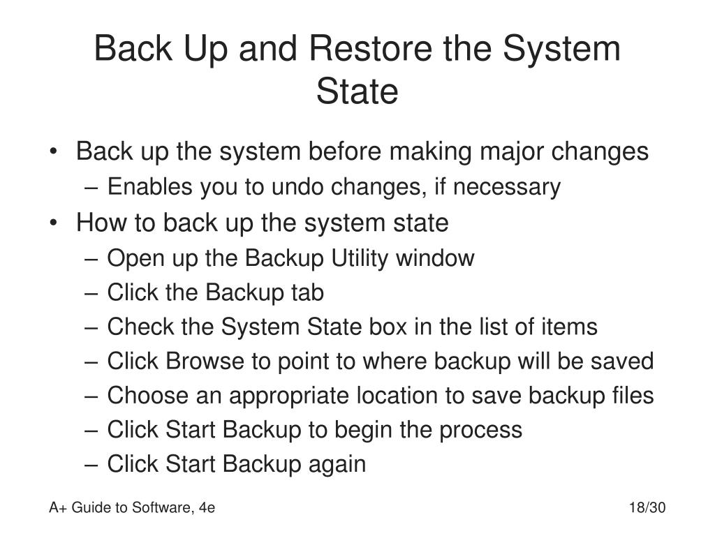 Back Up and Restore the System State