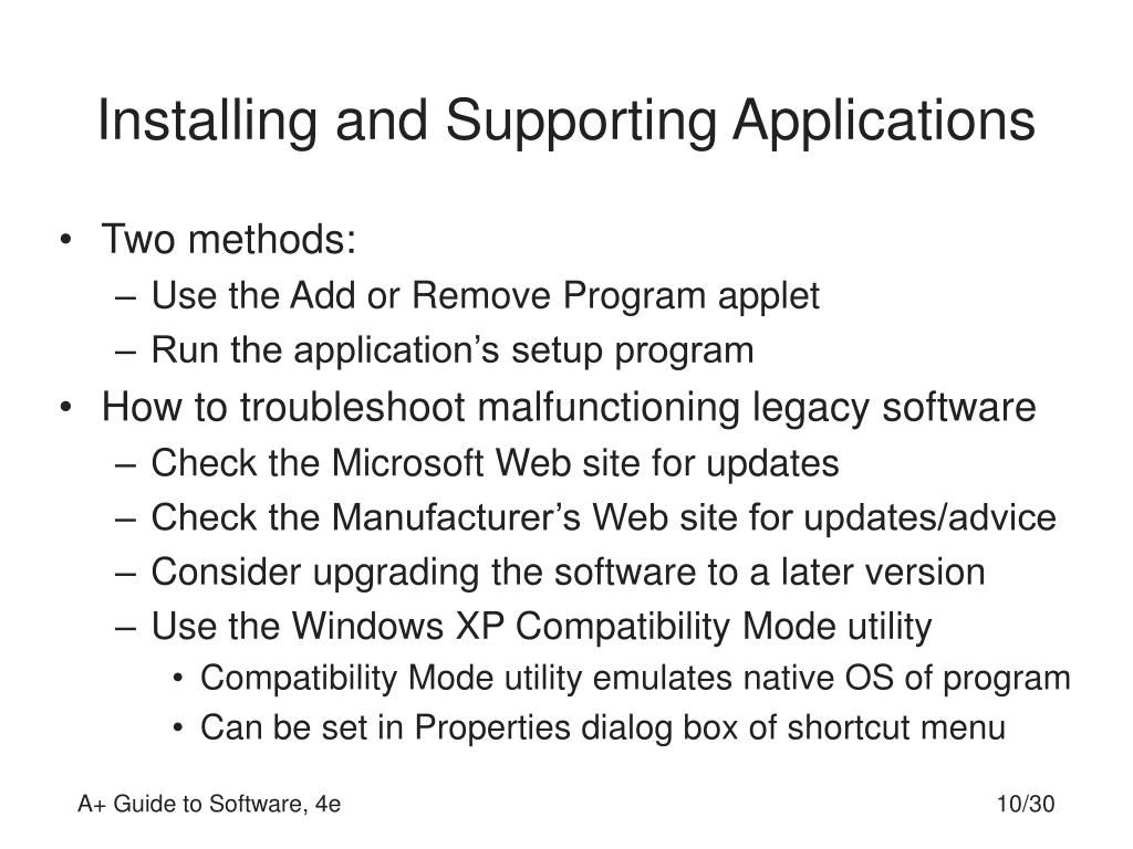 Installing and Supporting Applications