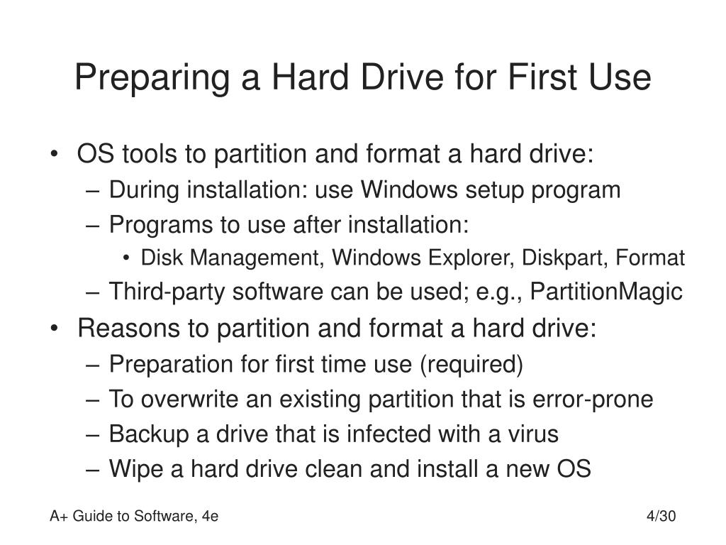 Preparing a Hard Drive for First Use