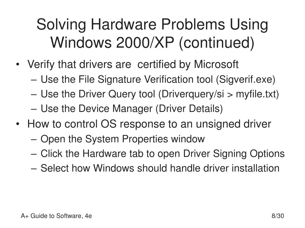 Solving Hardware Problems Using Windows 2000/XP (continued)