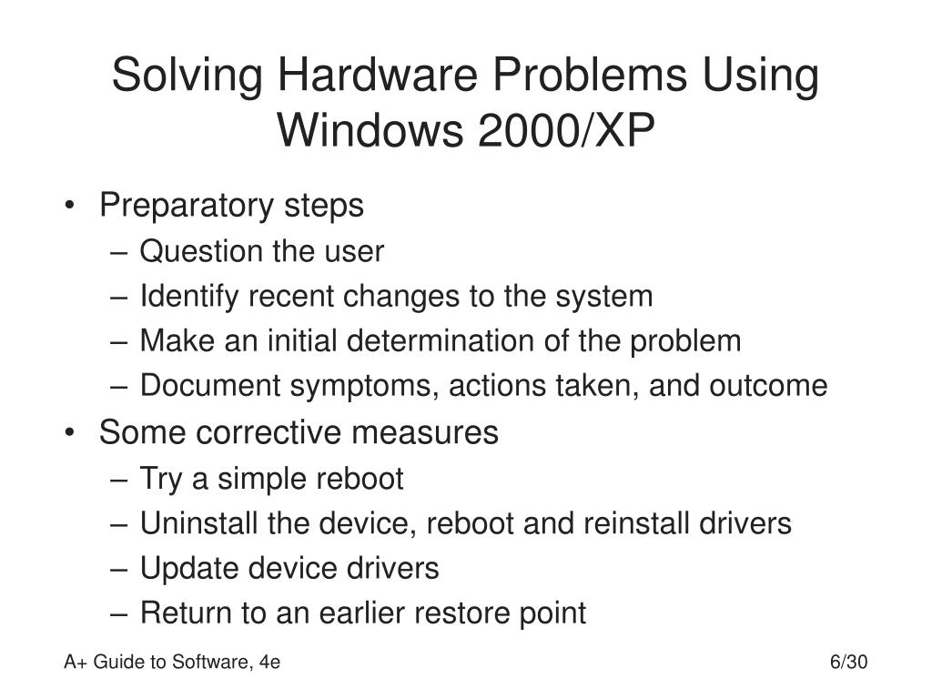 Solving Hardware Problems Using Windows 2000/XP