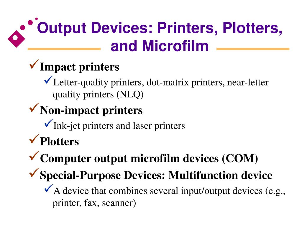 Output Devices: Printers, Plotters,
