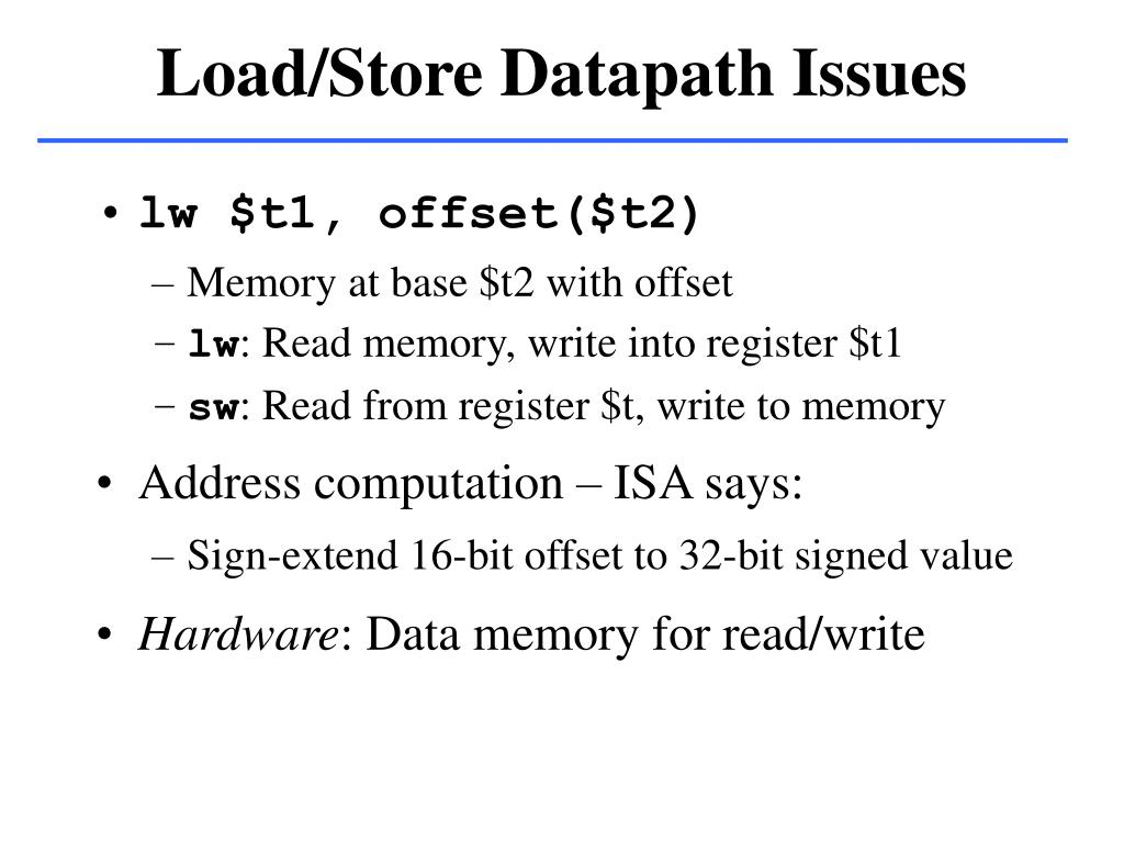 Load/Store Datapath Issues