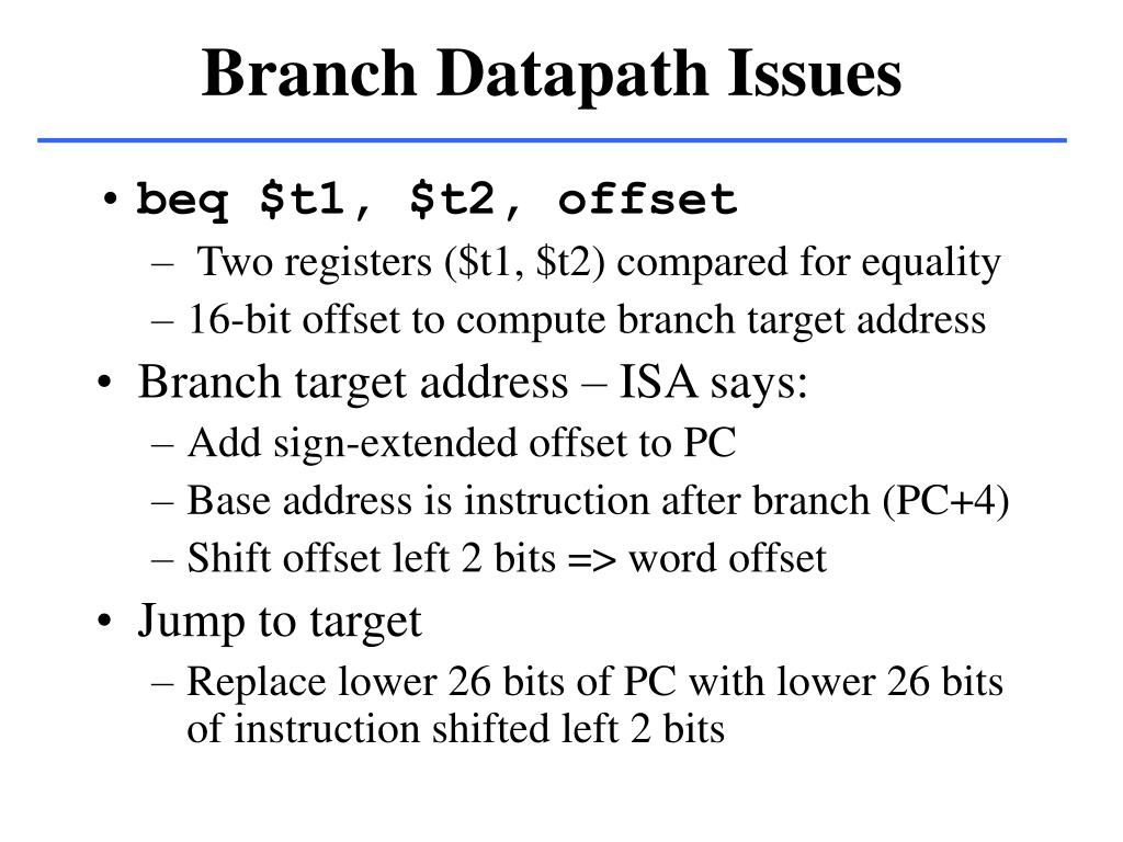 Branch Datapath Issues