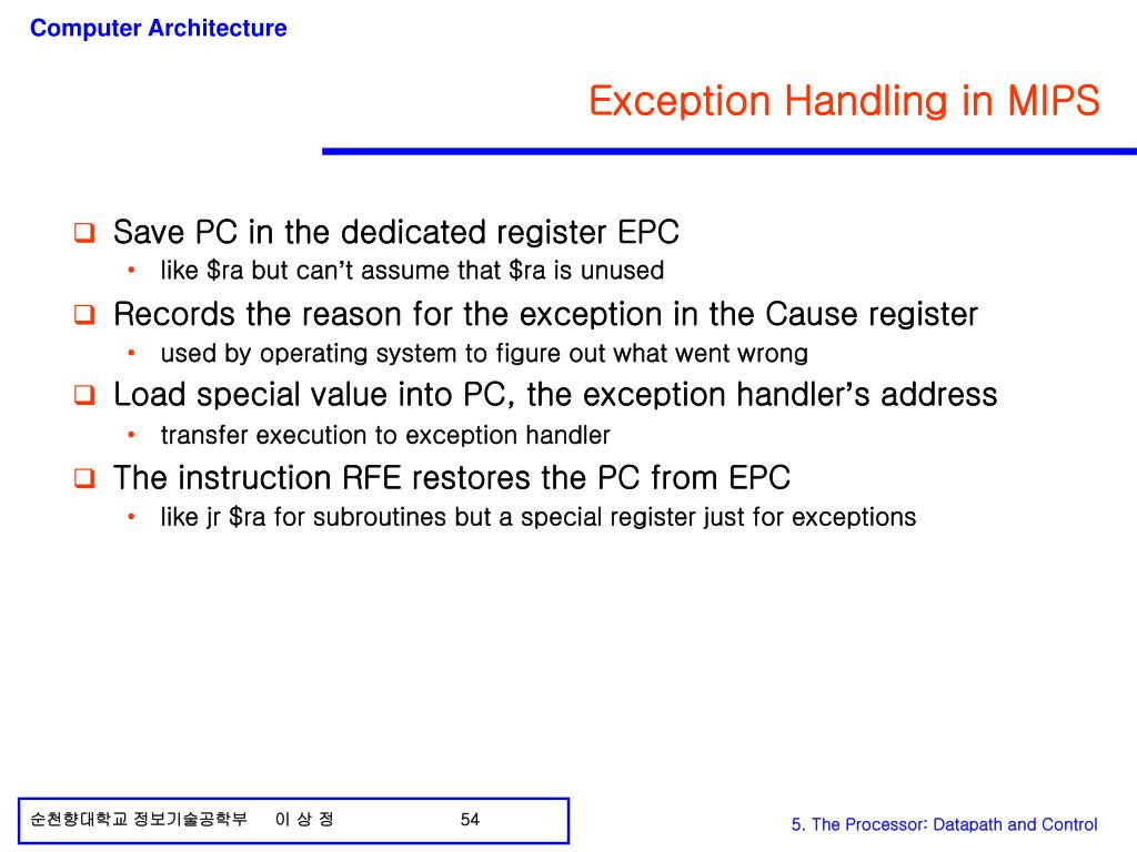 Exception Handling in MIPS