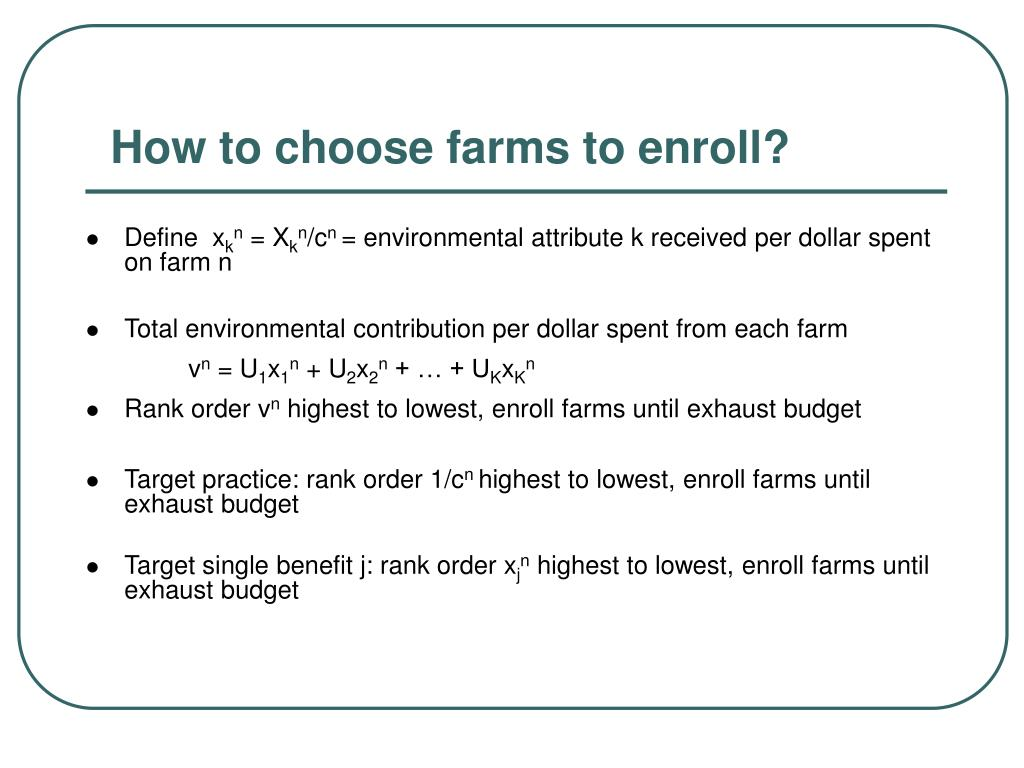 How to choose farms to enroll?