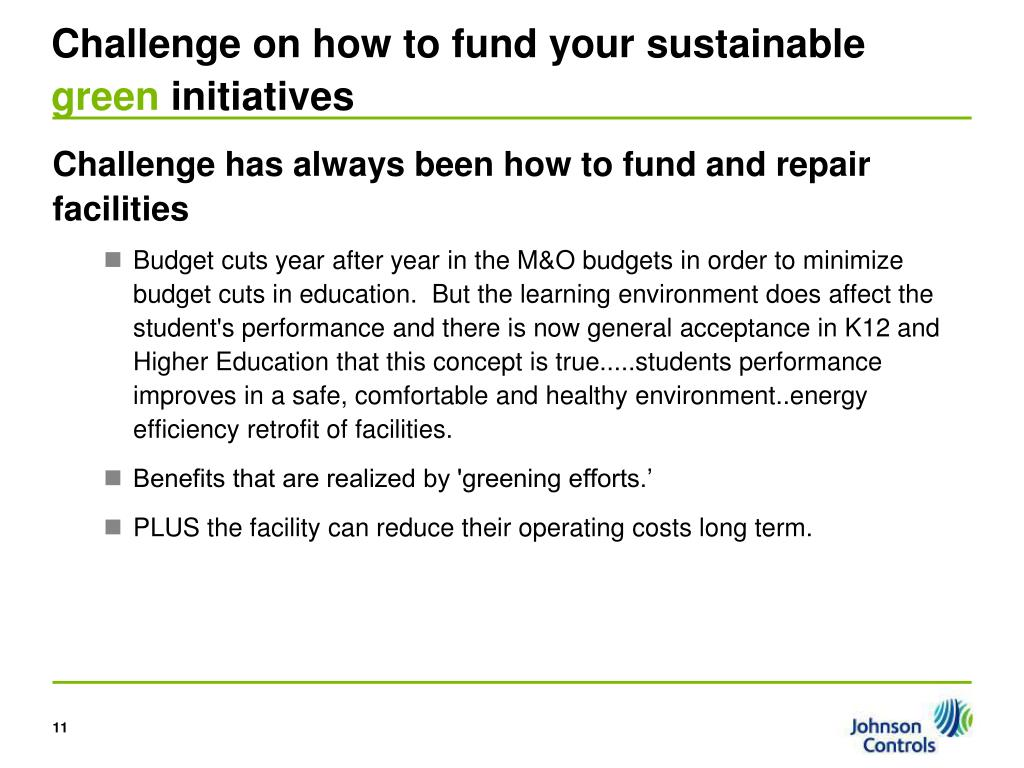 Challenge on how to fund your sustainable