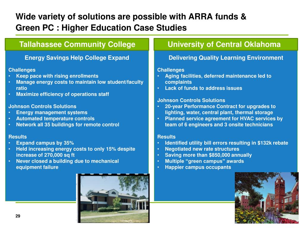Wide variety of solutions are possible with ARRA funds & Green PC : Higher Education Case Studies