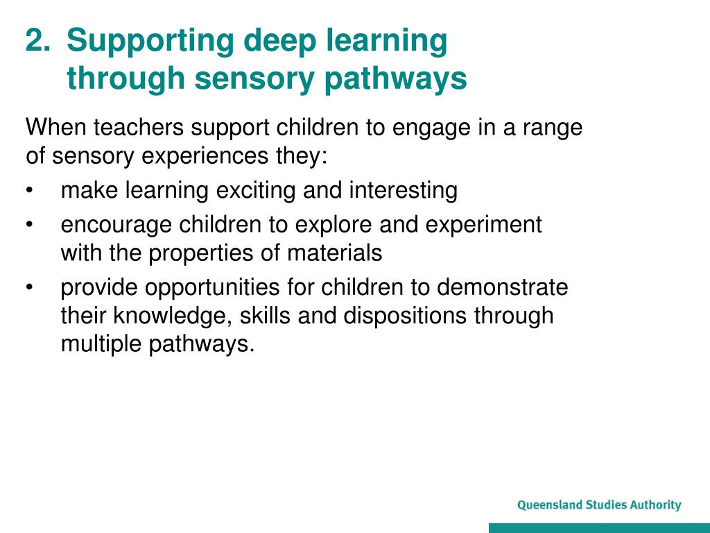 When teachers support children to engage in a range of sensory experiences they: