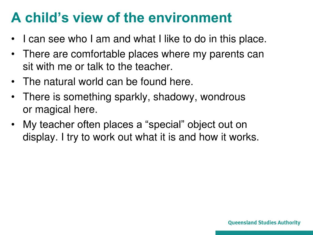 A child's view of the environment