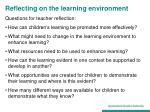reflecting on the learning environment