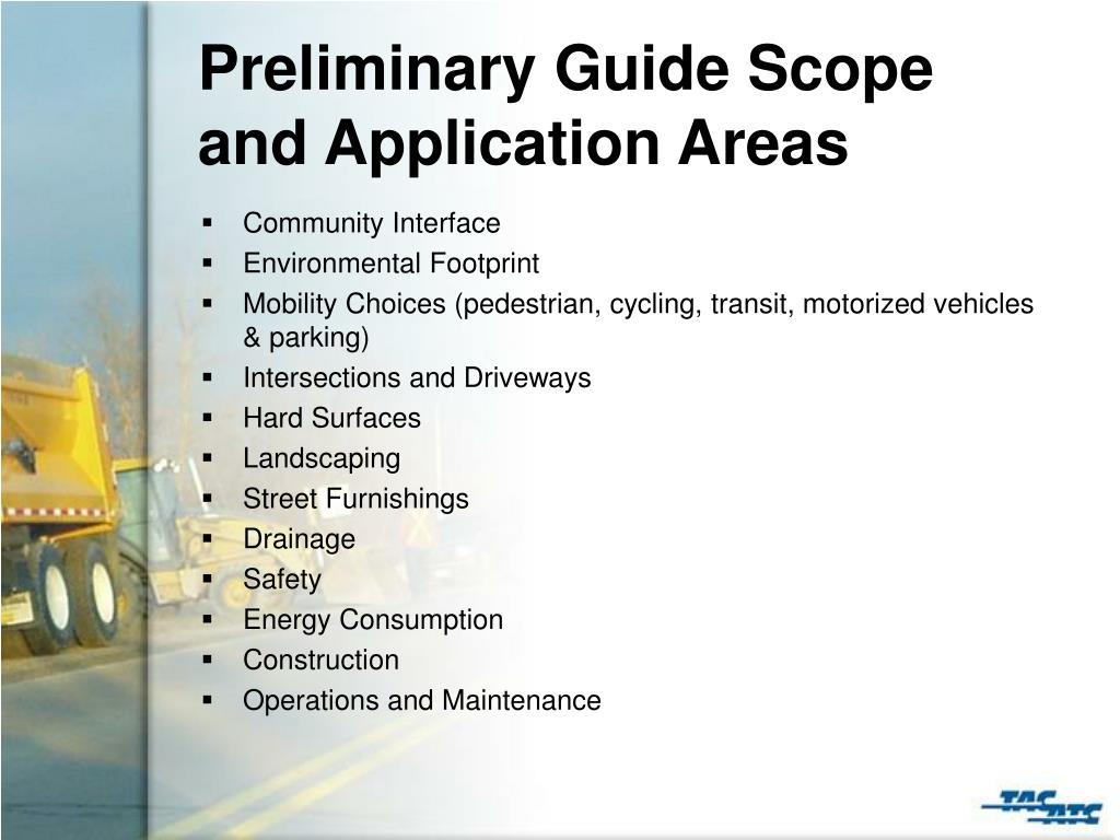 Preliminary Guide Scope and Application Areas