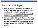 impact of nrp report