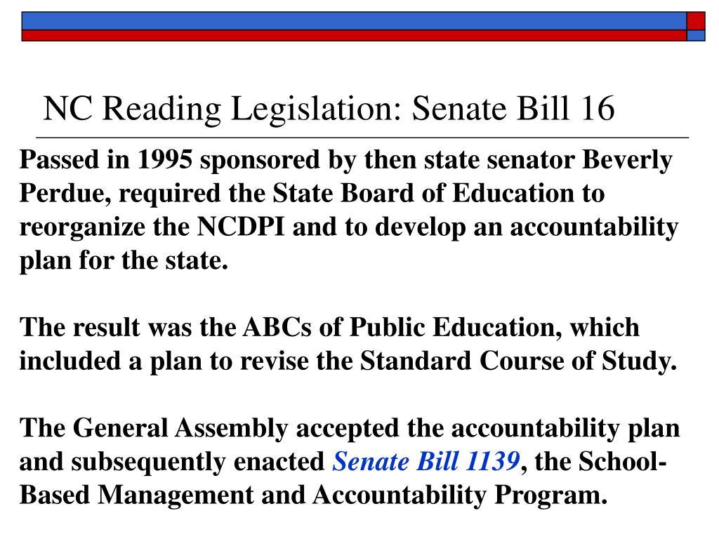 NC Reading Legislation: Senate Bill 16
