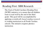reading first sbr research