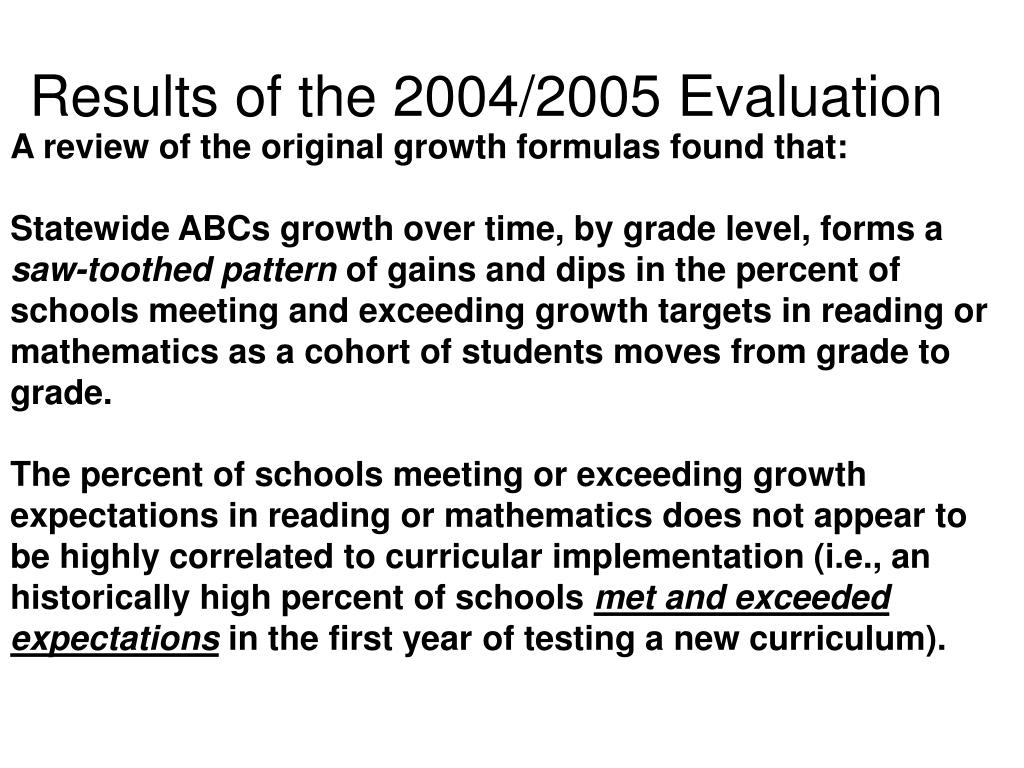 Results of the 2004/2005 Evaluation