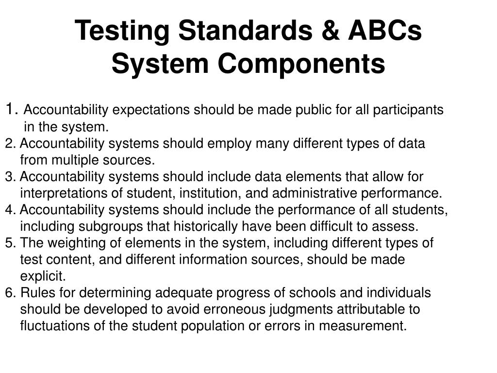 Testing Standards & ABCs System Components