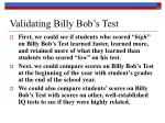 validating billy bob s test