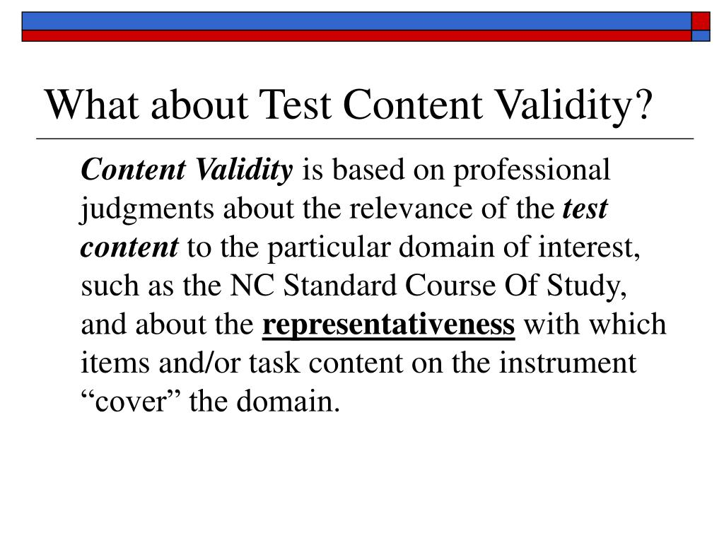 What about Test Content Validity?