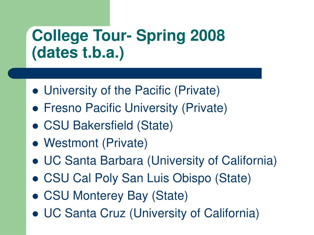 College Tour- Spring 2008