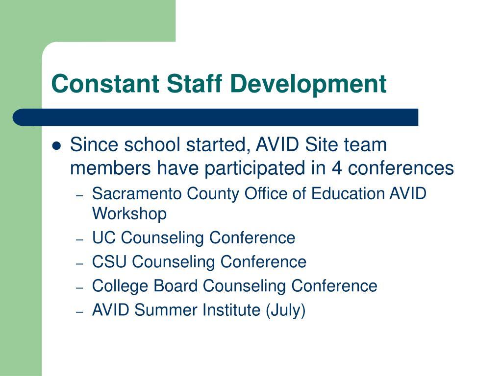 Constant Staff Development