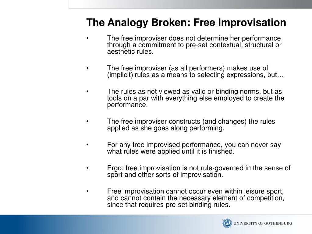 The Analogy Broken: Free Improvisation