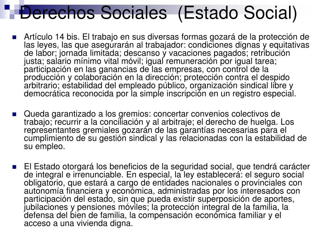Derechos Sociales  (Estado Social)