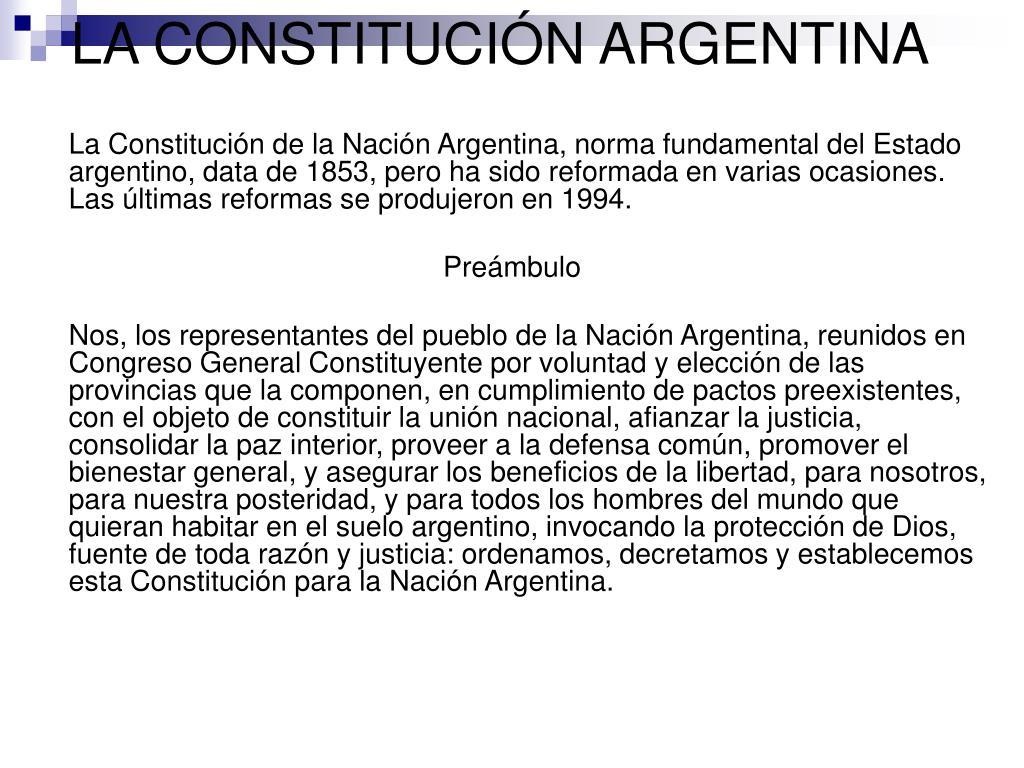 LA CONSTITUCIÓN ARGENTINA