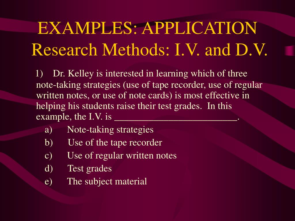 EXAMPLES: APPLICATION