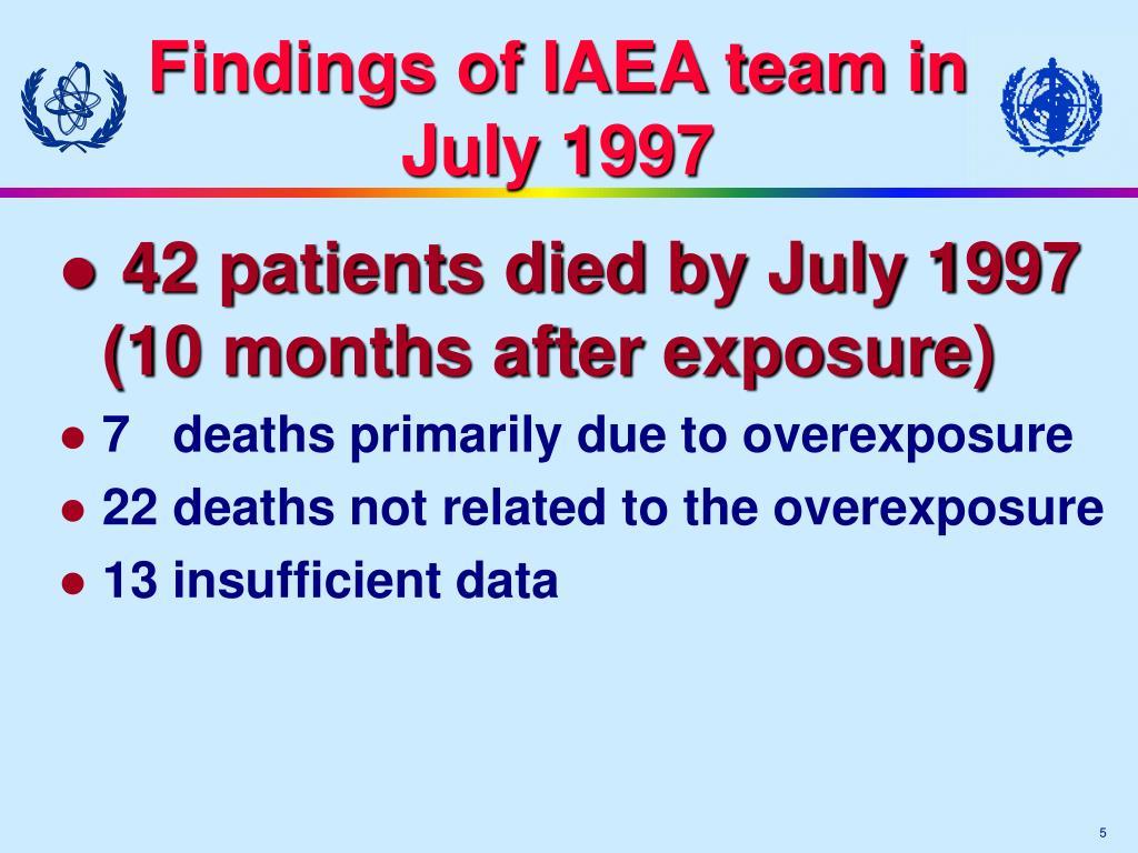 Findings of IAEA team in July 1997