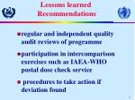 lessons learned recommendations19