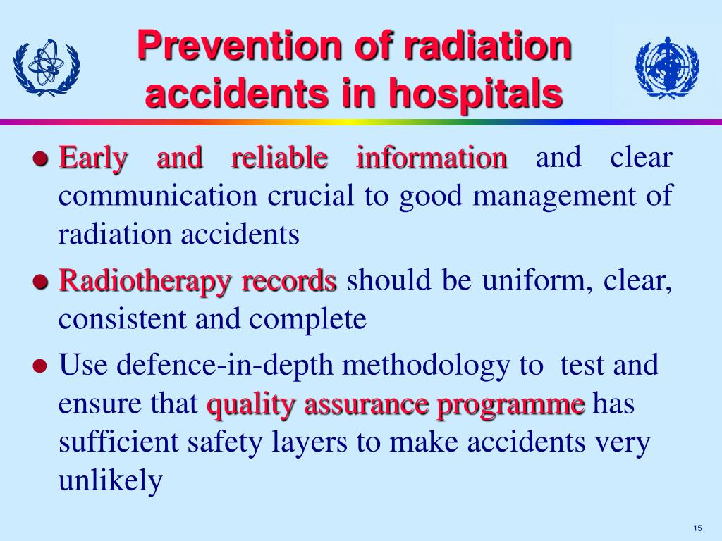 Prevention of radiation accidents in hospitals