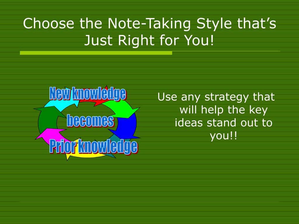 Use any strategy that will help the key ideas stand out to you!!